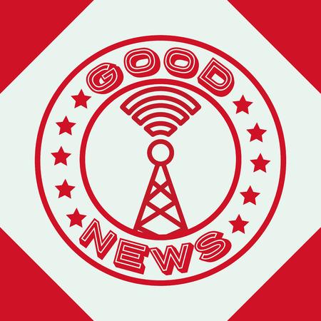 news communication tower antenna signal label vector illustration