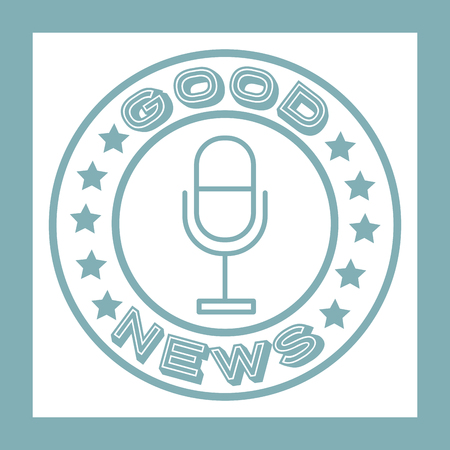 news communication good notices microphone label vector illustration