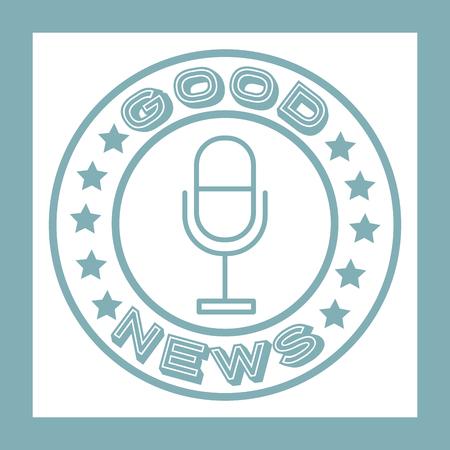 news communication good notices microphone label vector illustration Banque d'images - 114727954