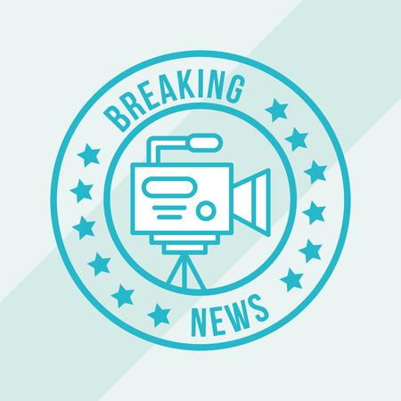 news communication camcorder film blue label vector illustration