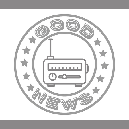 news communication gray label radio sound vector illustration