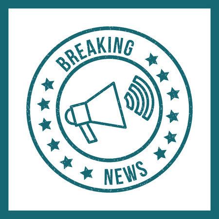 news communication label breaking notice megaphone voice vector illustration Stock Illustratie