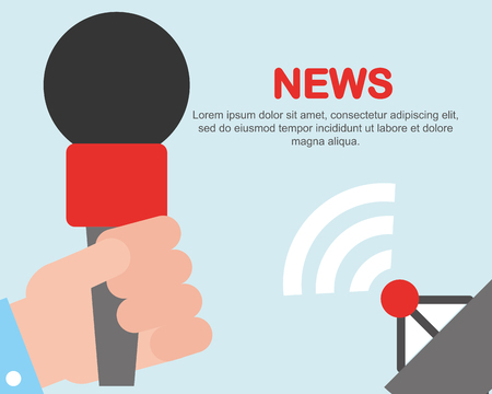 news communication notices  satellite  signal microphone vector illustration