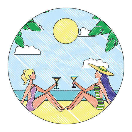 two woman sitting on beach with cocktails in hands vector illustration drawing Illustration
