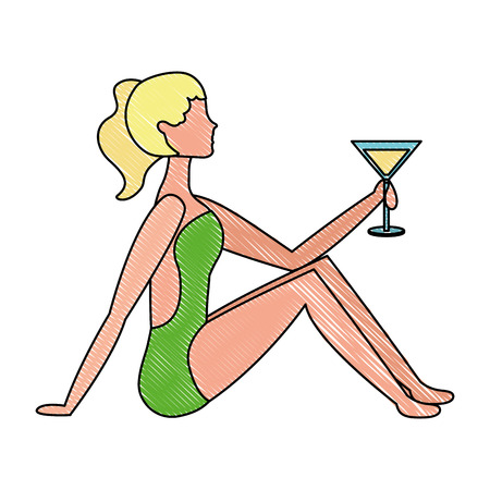 beautiful woman in swimsuit with cocktail vector illustration drawing Illustration