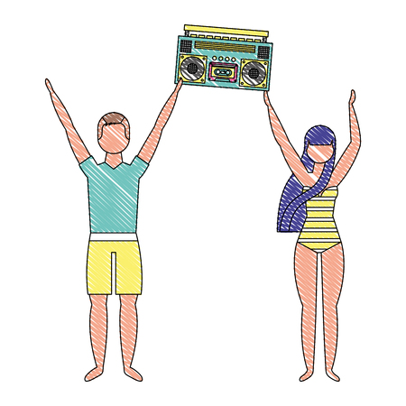 couple in swimsuit holding stereo boombox radio vector illustration drawing Illustration