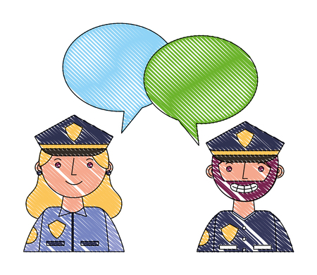 woman and man police portrait speech bubble vector illustration drawing