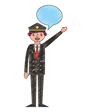 commercial airplane pilot in uniform speech bubble vector illustration drawing Illustration