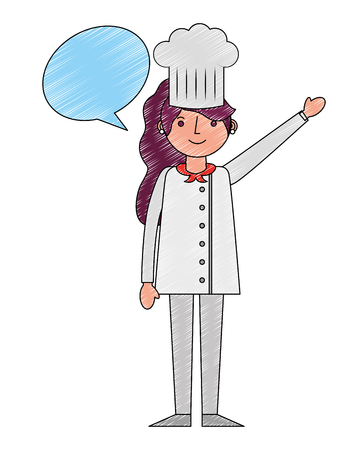chef woman female character with hat speech bubble vector illustration drawing Illustration