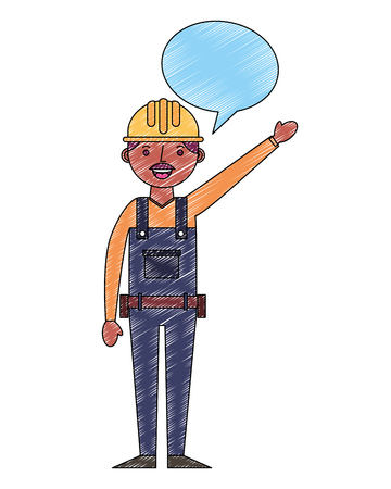 construction man worker with helmet and overalls speech bubble vector illustration drawing