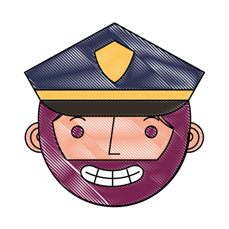 police man in uniform character face character vector illustration drawing