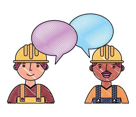 workers contruction portrait talking speech bubble vector illustration drawing Illusztráció