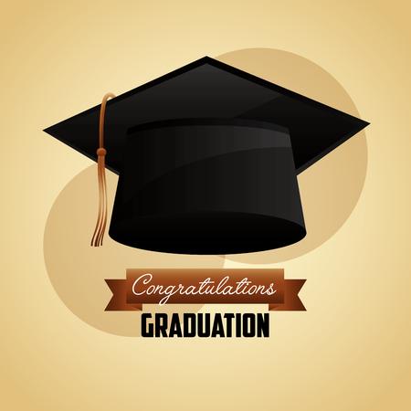 congratulations graduation hat accessory icon vector illustration