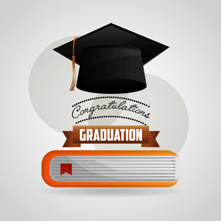 congratulations graduation hat and book school vector illustration