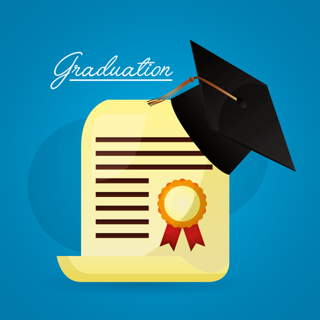 graduation hat and diploma college academic vector illustration