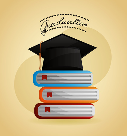 congratulations graduation hat and stacked books vector illustration