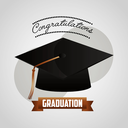 congratulations graduation hat ribbon card vector illustration