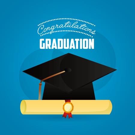 congratulations graduation hat and roll diploma success vector illustration