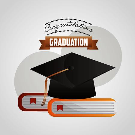 congratulations graduation hat on books literature vector illustration Illusztráció