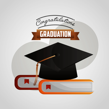 congratulations graduation hat on books literature vector illustration Ilustração