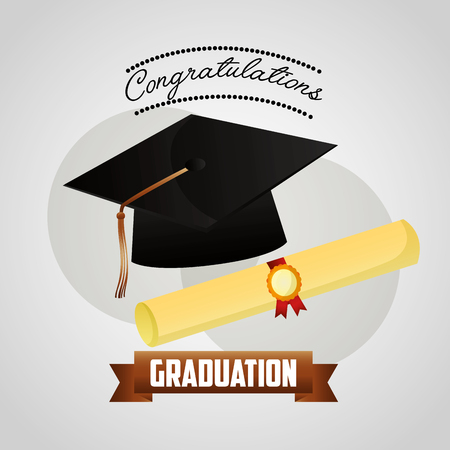 congratulations graduation hat and scroll certificate vector illustration Иллюстрация
