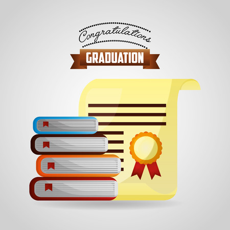 congratulations graduation certificate and stacked books vector illustration