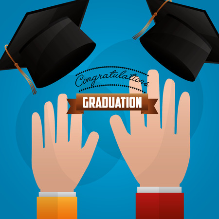 hands with hats congratulations graduation vector illustration