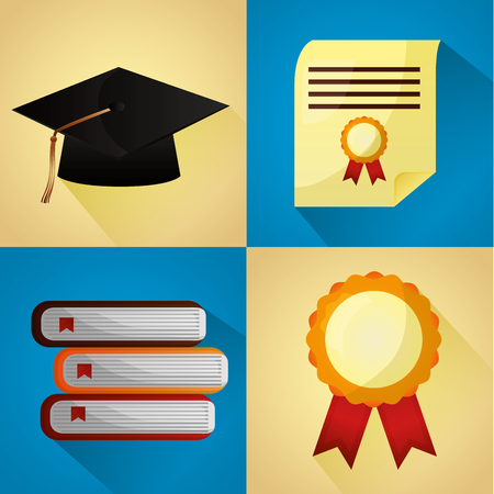 congratulations graduation school books hat medal certificate vector illustration Illustration