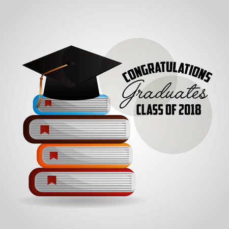 congratulations graduation hat education study books vector illustration