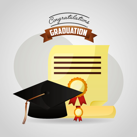 congratulations graduation parchment paper and hat vector illustration Ilustracja