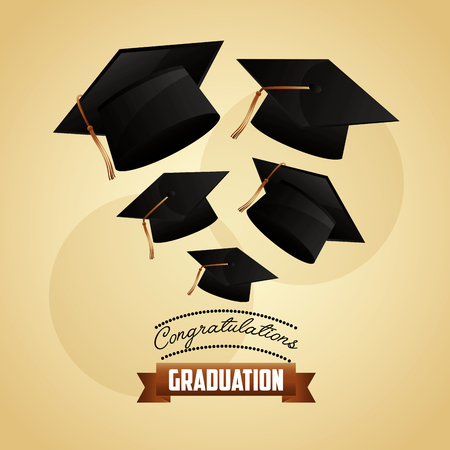 congratulations graduation collection hats design vector illustration 向量圖像