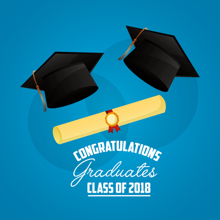 congratulations graduates class of 2018 hat roll diploma card vector illustration