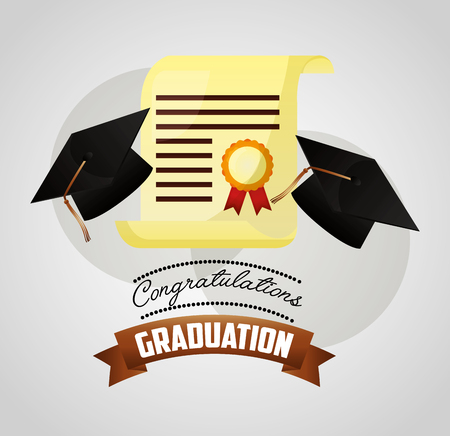 congratulations graduation hats and certificate medal vector illustration Illustration