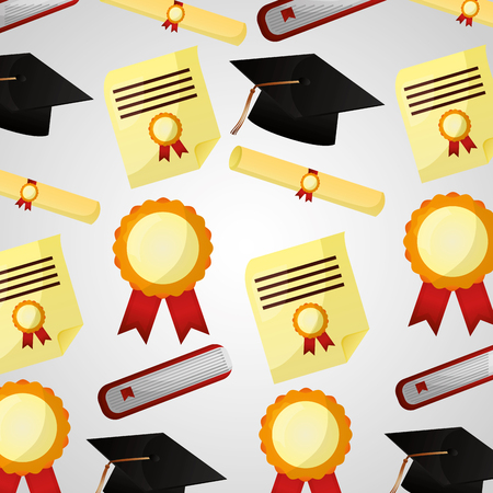 congratulations graduation hat medal rosette book pattern vector illustration Ilustração