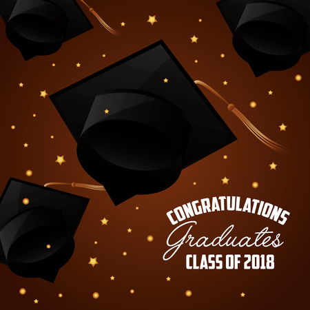 hats on brown background with stars congratulations graduation vector illustration