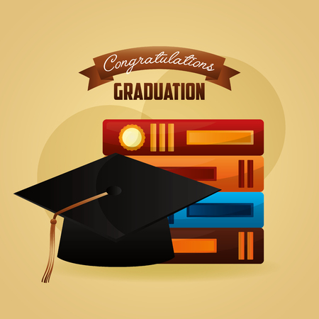 congratulations graduation hat study pile books vector illustration