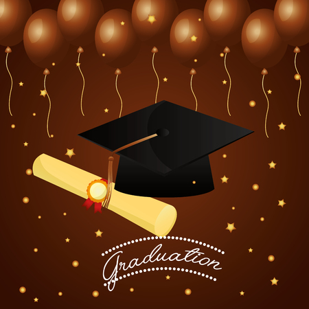 congratulations graduation hat certificate and stars balloons brown background vector illustration
