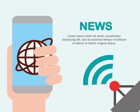 news communication hand holding telephone satellite signal vector illustration