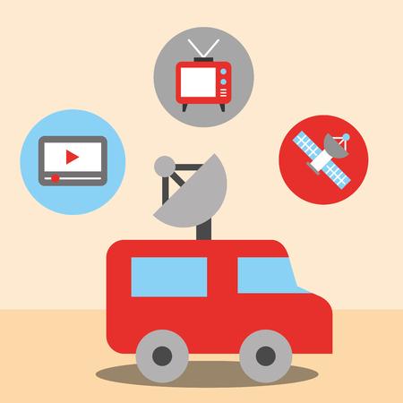news communication car antenna stickers play videos  satellite  television vector illustration