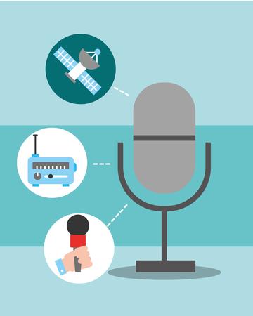 news communication microphone stickers hand radio vector illustration Illustration