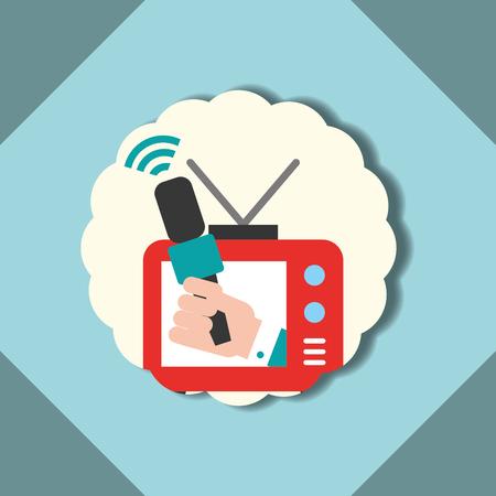 Etiqueta de comunicación de noticias entrevista de televisión ilustración vectorial Ilustración de vector