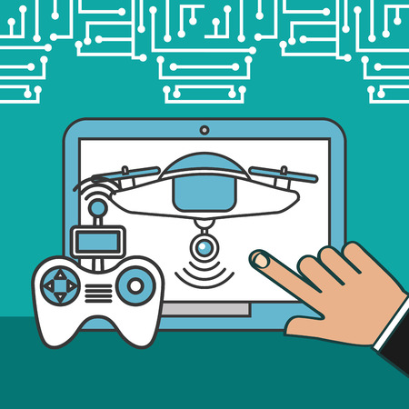 drone technology futuristic hand pointed screen device control game vector illustration