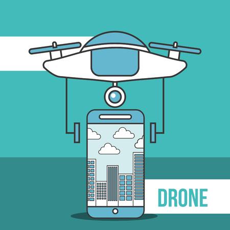 drone technology futuristic smartphone screen city cloud vector illustration