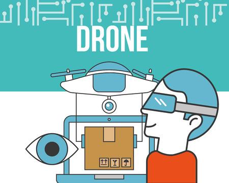 drone technology futuristic man using realistic glasses surveillance eye box vector illustration