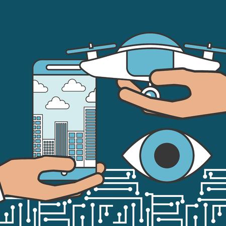 drone technology futuristic surveillance eye hands holding device smartphone city vector illustration