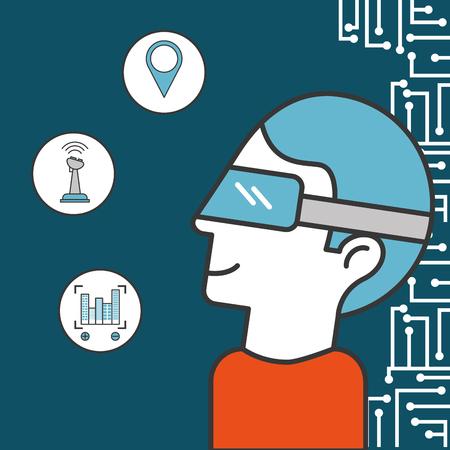 drone technology futuristic man using realistic glasses stickers focus buildings location control vector illustration Stock Illustratie