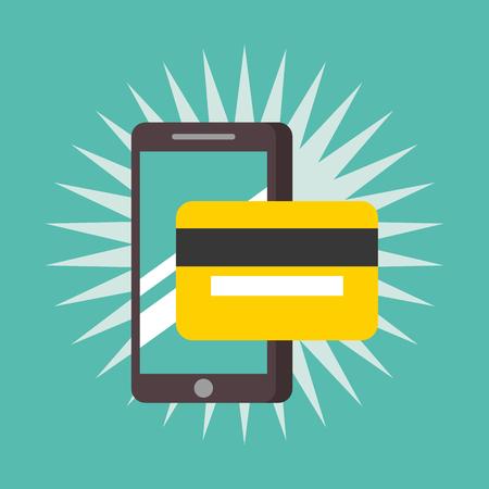 nfc payment technology smartphone credit card vector illustration Illustration