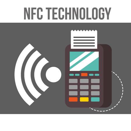 nfc payment technology sign dataphone wifi signal vector illustration