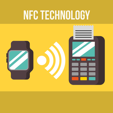 nfc payment technology wristwatch signal dataphone pay vector illustration Banque d'images - 105571480