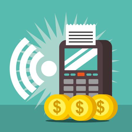 nfc payment technology signal dataphone coins vector illustration